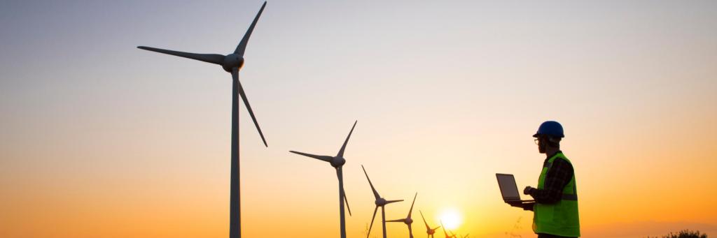 Wind Turbines Banner Green Con